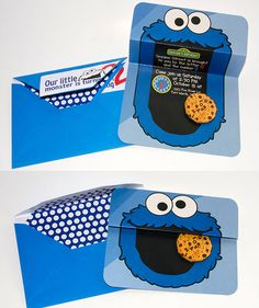 I created this invite for a cookie monster themed party! Visit my Etsy shop to purchase this custom invite! http://bytesizedpixels.etsy.com