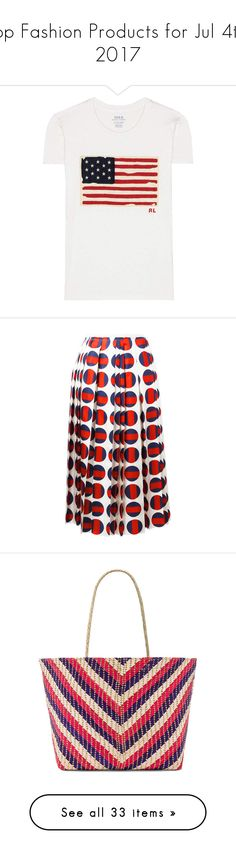 """""""Top Fashion Products for Jul 4th, 2017"""" by polyvore ❤ liked on Polyvore featuring tops, t-shirts, multicoloured, multi color tops, colorful tops, applique t shirts, polo ralph lauren tees, multi color t shirts, skirts and red"""