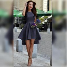 Pure Candy Color Irregular High Waist Short Dress - Meet Yours Fashion - 12