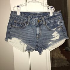 American Eagle high waisted distressed shorts Only worn once, perfect condition! American Eagle Outfitters Shorts Jean Shorts
