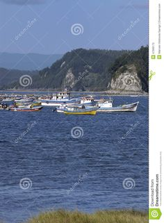 Fishing boats in Tubul wetland, coast of Arauco. Chile