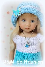 "R&M DOLLFASHION-ROMANTIC LINE handknit set for Effner LITTLE DARLING 13"" doll"