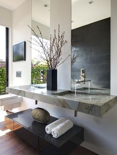 Modern Bathroom Design, Pictures, Remodel, Decor and Ideas - page 9 I have seen this done but make sure you get a good slope or your toothpaste just sits there and you have to wash it away. haha