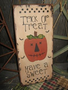PRIMITIVE Pumpkin Wooden Sign  Stenciled   by JustHanginAroundPrim
