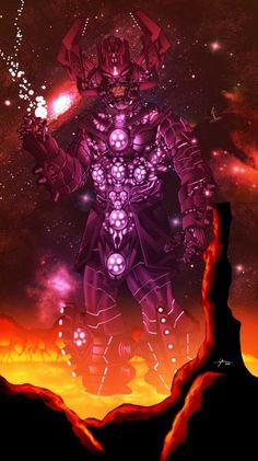 Galactus by Gerry Obadiah Salam. This would have been a killer Galactus design for Rise of The Silver Surfer if it had been done as an actual adaptation of the Coming of Galactus storyline from the comics. Comic Book Characters, Comic Book Heroes, Marvel Characters, Comic Character, Comic Books Art, Comic Art, Heros Comics, Marvel Comics Art, Bd Comics