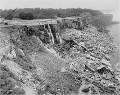 On March 30, 1848, Niagara Falls stopped. No water flowed over the great falls for 30-40 hours. Huge chunks of lake ice had blocked Lake Erie's outlet into the head of the Niagara River, causing the flow of water to stop.