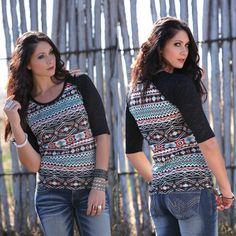 Cruel Aztec Knit Burnout Sleeve Shirt | Al-Bar Ranch