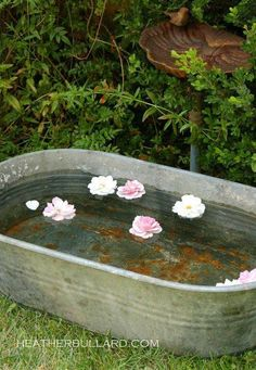 Galvanized tub with floating flowers.