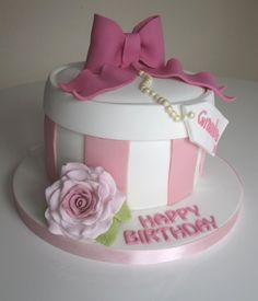 Pink vintage flowers hatbox birthday cake by Queen of Cakes  www.queenofcakes.org.uk