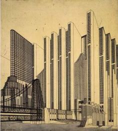 "decoarchitecture:  City of the Future by Antonio Sant'Eliavia cutwiththekitchenknife Another ""OMG! Whoah!"" drawing from Sant'Elia. This was done in the 1910s probably."
