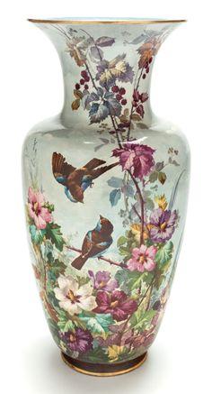 A Large Continental Porcelain Floral Floor Vase. Circa 1890.
