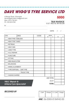 New Invoice Book for Dave Wigg Tyres