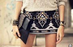 Aztec sequin mini skirt