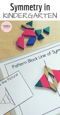 Make a butterfly with pattern blocks. Practice symmetry with these hands-on and fun centers for kindergarten. Easy to print and prep! Patterning Kindergarten, Preschool Math, Math Classroom, Kindergarten Math, Teaching Math, Teaching Ideas, Classroom Ideas, Math For Kids, Fun Math