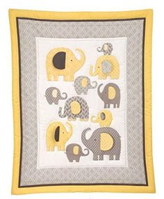Little Bedding by NoJo Elephant Time 4-Piece Crib Bedding Set, Yellow. Limited Time On Sale