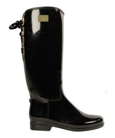 Take a look at this Black Shiny Lace-Up Rain Boot - Women by däv on #zulily today! $35.  sleek!