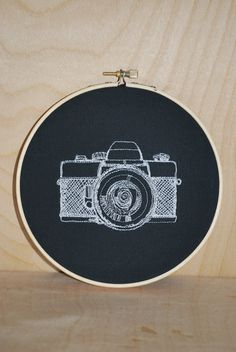 Vintage Camera . Embroidery Hoop Art