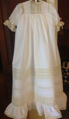 Christening Gown with Tucked and Lace Bands by CatherynCollins, $595.00