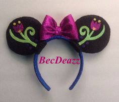 Disney Frozen Anna  Minnie Mouse  ears headband on Etsy, $25.00