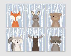 Woodland Nursery Wall Art, Woodland Wall Decor, Birch Tree Forest Animals, Forest Friends Set of of 6 Fox Rabbit Bear Squirrel Moose Raccoon