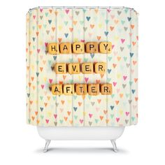 Happee Monkee Happy Ever After Shower Curtain #heart #print #bathroom