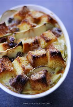Apple and Brioche Bread and Butter Pudding - Citrus and Candy Brioche Bread And Butter Pudding, Bread N Butter, Easy Desserts, Delicious Desserts, Yummy Food, Great Recipes, Yummy Recipes, Recipies, Bread Bun