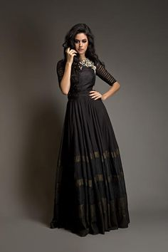 Looking for black floor length anarkali? Browse of latest bridal photos, lehenga & jewelry designs, decor ideas, etc. on WedMeGood Gallery. Pakistani Dresses, Indian Dresses, Indian Outfits, Western Dresses, Indian Attire, Indian Wear, India Fashion, Asian Fashion, Dinner Party Outfits