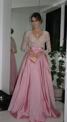 Evening Dresses Long Sleeves V Neck Beaded Bodice Ruffled Taffeta A-Line Ball Gowns Mother Of The Bride Dresses Evening Gowns With Belt Prom Dresses Long With Sleeves, Formal Dresses, Formal Prom, Pretty Dresses, Beautiful Dresses, Beaded Prom Dress, Dress Prom, Dress Lace, Pink Dress