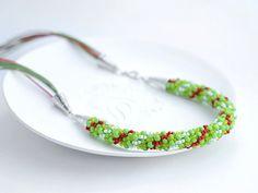 Bead Crochet Necklace Strawberry Fields for women by Chudibeads, $47.00