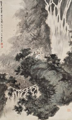 Painted by the contemporary artist Fu Baoshi 傅抱石. Asian Landscape, Chinese Landscape Painting, Chinese Painting, Landscape Art, Landscape Paintings, Painting Gallery, Ink Painting, Art Gallery, Art Chinois