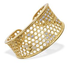 "Gumuchian ""B"" Collection Honeycomb cuff bracelet with diamonds set in 18-karat gold."