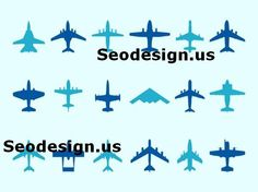 Free Vector Art Graphics - Air plane Silhouette Icons Download #graphics #vector #silhouette