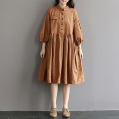 Women loose cotton linen lantern sleeve dress