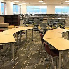 The media center/seminar area at Banning Lewis Ranch Academy provides flexible l Classroom Layout, Classroom Organisation, New Classroom, Classroom Design, Classroom Table Arrangement, Desk Arrangements, Classroom Furniture, School Furniture, Future School