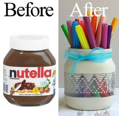 An old recycled nutella jar in a pencil holder, using a piece of lace and pain . Recycled Crafts Kids, Diy Crafts To Do, Jar Crafts, Crafts For Kids, Nutella Jar, Pots, Rainy Day Crafts, Pencil Holder, Handmade Bags