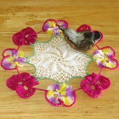 Pansy Flower Lace Doily  Crochet Lace Decor by RSSDesignsInFiber