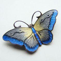 Hroar Prydz Sterling Silver Enamel Butterfly Pin Norway c1950 60 | eBay