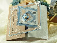 Interlocking Gatefold Card made using JustRite Anchors Away and Spellbinders Marvelous Squares  #JustRite #Spellbinders #diecut - Click image to find more DIY & Crafts Pinterest pins. Maybe not so elaborate but for a wedding card invitation!!