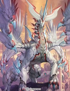 Nice anime image from Shingeki no Bahamut uploaded by S.D - white dragon Dark Fantasy Art, Fantasy Artwork, Mythical Creatures Art, Mythological Creatures, Monster Design, Monster Art, Creature Concept Art, Creature Design, Takayama