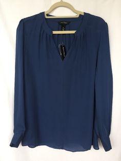 White House Black Market Silk Blouse Sz 10 Blue Bell Semi Sheer Long Sleeve $110 #WhiteHouseBlackMarket #Blouse #Casual