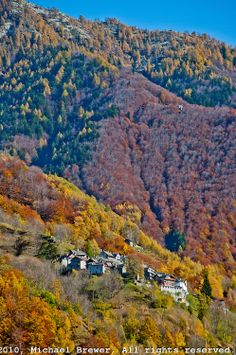 Steep mountainside village in a golden autumn forest in Valle Onsernone, Ticino, Southern Switzerland | Michael Brewer Photography