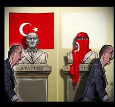 Ενα συγκλονιστικό σκίτσο για τον Ερντογάν: Από τον Ατατούρκ στον... Δικτατούρκ [εικόνα]