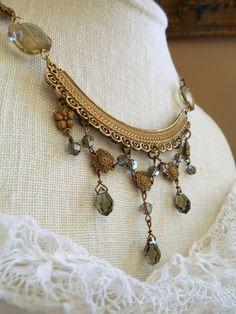Vintage assemblage Edwardian festoon necklace smoky topaz crystal drops brass stampings one-of-a-kind Triolette necklace by triolette on Etsy