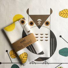Tea Towel owl pattern de NIDO shop por DaWanda.com