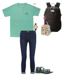 """""""What I'm wearing tomorrow for school✨"""" by bri01 ❤ liked on Polyvore featuring Frame Denim, Chaco, Argento Vivo, The North Face, Vera Bradley, Carolee and Michael Kors"""