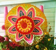 Glass Plate Flower For Your Summer Garden by pollysyardart on Etsy, $30.00