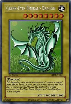 Green-Eyes Emerald Dragon custom-made YuGiOh card