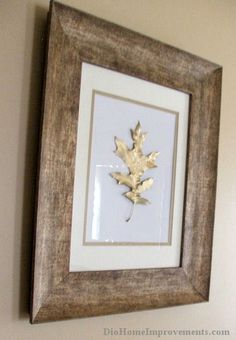 Gold Painted Leaves This project was so easy! I had the frames and gold paint already on hand. I used one red oak, one white oak and one map...