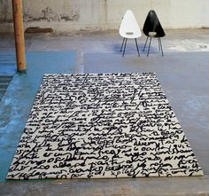 Tapis Black on white - Manuscrit 80 x 240 cm - Noir et Blanc - Nanimarquina