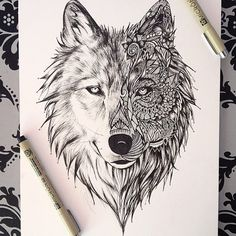 💙 Wolf 💙 Awesome Artwork by: @leiartista 🎨✏️✨💫 - Follow my tattoo page for daily pictures of tattoos: @inkspiringtattoos 💉💀🌹